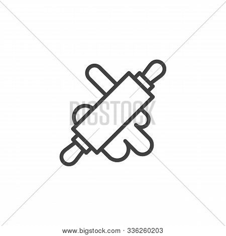 Rolling Pin With Dough Line Icon. Linear Style Sign For Mobile Concept And Web Design. Rolled Dough