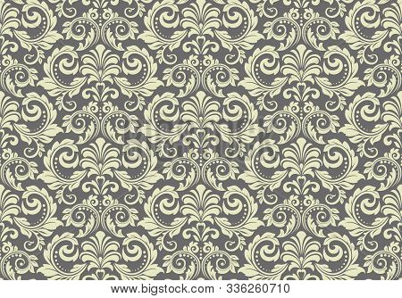 Wallpaper In The Style Of Baroque. Seamless Vector Background. Grey Floral Ornament. Graphic Pattern