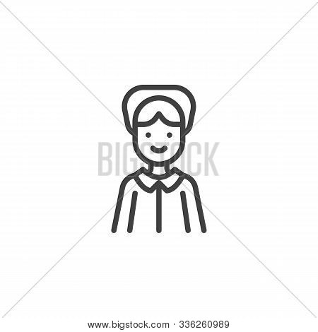 Happy Pilgrim Woman Line Icon. Linear Style Sign For Mobile Concept And Web Design. Thanksgiving Pil