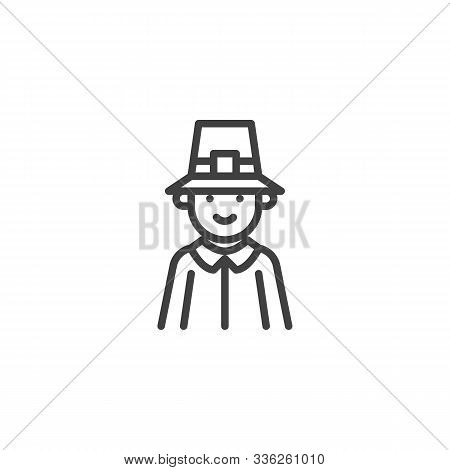Thanksgiving Pilgrim Man Line Icon. Linear Style Sign For Mobile Concept And Web Design. Pilgrim Man