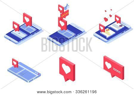 Push Like Notifications. Social Networking Concept. Vector Isometric Illustration.