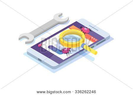 Software Or Application Testing Isometric Vector Concept. Debugging Development Process. Vector Illu