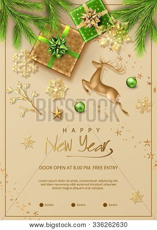 Christmas And New Year Poster. Christmas Decorations, Green Fir Branches, Gold Figurine Of A Deer, G