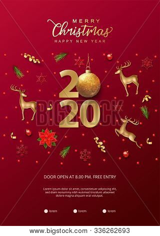 Christmas And New Year Poster. Christmas Decorations, Green Fir Branches, Gold Figurine Of A Deer, 2