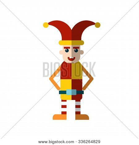 Vector Flat Icon Of The Royal Jester Fool In Funny Clothes And A Hat With Bells. Jester Fool From Ro