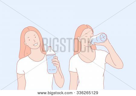 Regular Water Drinking, Healthy Habit Concept. Young Woman With Liquid Bottle, Girl Drinking Beverag