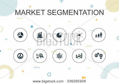 Market Segmentation Trendy Infographic Template. Thin Line Design With Demography, Segment, Benchmar