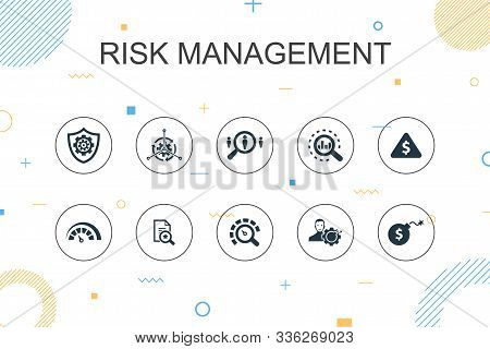 Risk Management Trendy Infographic Template. Thin Line Design With Control, Identify, Level Of Risk,