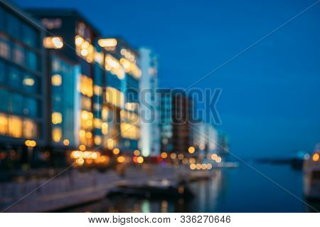 Oslo, Norway. Night Abstract Boke Bokeh Background Effect. Residential Multi-storey Houses In Aker B