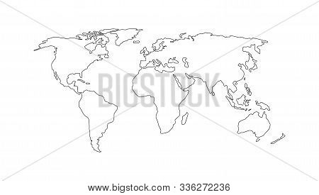 World Map. Hand Drawn Simple Stylized Continents Silhouette In Minimal Line Outline Thin Shape. Isol