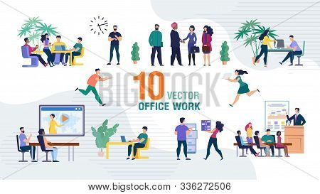 Business Team Office Work Trendy Flat Vector Isolated Scenes Set. Business Company Employees, Office