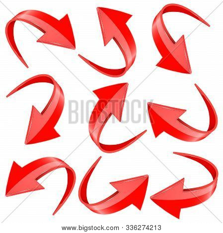 Down And Up 3d Arrows. Red Signs With Reflection. Vector Illustration On White Background