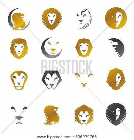 Brave Lions Ancient Emblems Elements Set. Heraldic Vector Design Elements Collection. Retro Style La