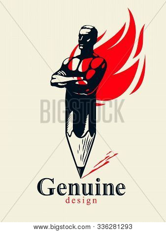 Strongman Muscle Man Combined With Pencil And Fire Flame Into A Symbol, Strong Design Concept, Creat