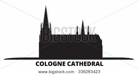 Germany, Cologne Cathedral City Skyline Isolated Vector Illustration. Germany, Cologne Cathedral Tra