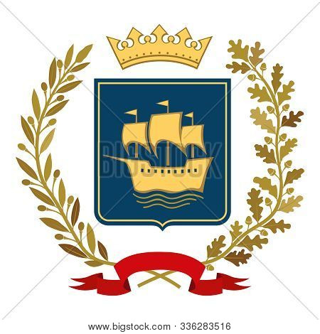 Heraldic Image. On The Blue Shield Is A Stylized Gold Ship. Top Decorative Corona. On Each Side Are