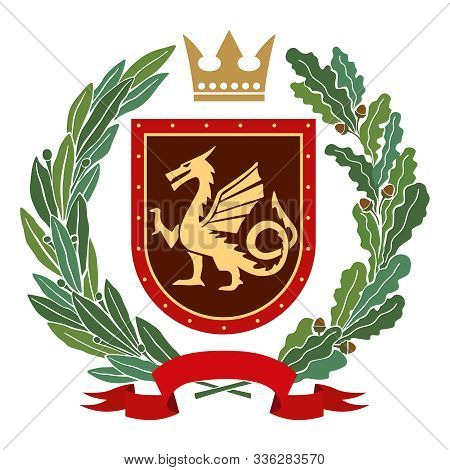 Heraldic Image. On The Red Shield Is A Stylized Golden Dragon. On Top Of The Decorative Crown, On Ea