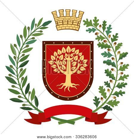 Heraldic Image. On The Red Shield There Is A Stylized Golden Tree. On Top Of The Decorative Crown, O