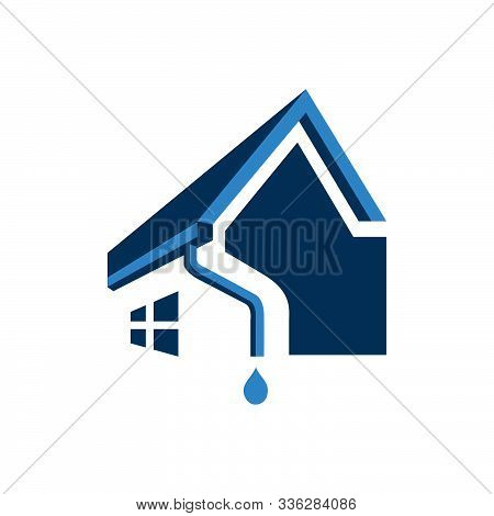 House Roof Gutter Logo Design. Home Pipe Installation Vector Template Illustrations