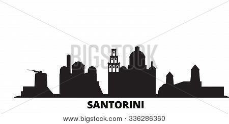 Greece, Santorini City Skyline Isolated Vector Illustration. Greece, Santorini Travel Black Cityscap