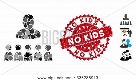 Mosaic Auditory Students Icon And Rubber Stamp Watermark With No Kids Text. Mosaic Vector Is Designe