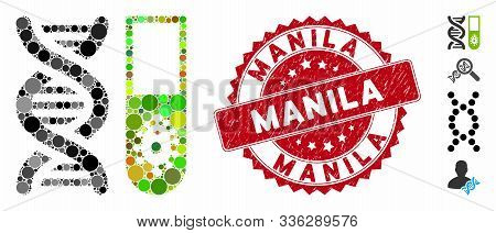 Mosaic Hitech Microbiology Icon And Corroded Stamp Seal With Manila Text. Mosaic Vector Is Created W