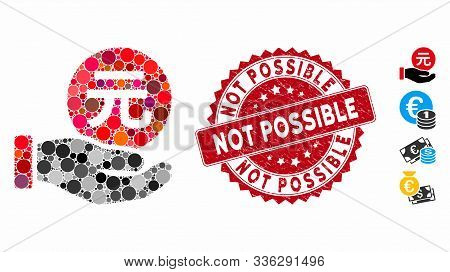 Mosaic Renminbi Yuan Coin Payment Icon And Rubber Stamp Seal With Not Possible Text. Mosaic Vector I