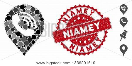 Mosaic Phone Call Marker Icon And Rubber Stamp Seal With Niamey Text. Mosaic Vector Is Composed With