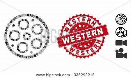 Collage Bobbin Icon And Grunge Stamp Seal With Western Caption. Mosaic Vector Is Formed With Bobbin