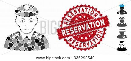 Collage Army General Icon And Corroded Stamp Seal With Reservation Phrase. Mosaic Vector Is Designed