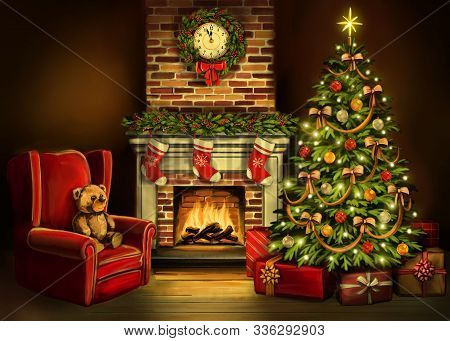 Christmas Eve, Room Decorated With Christmas Decoration, Christmas Tree And A Fireplace Symbol Of Ch