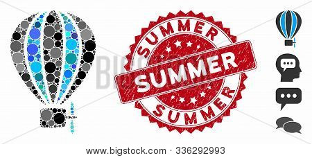 Mosaic Aerostat Balloon Icon And Grunge Stamp Seal With Summer Caption. Mosaic Vector Is Composed Wi