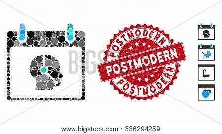 Collage Telemarketing Operator Calendar Day Icon And Rubber Stamp Watermark With Postmodern Phrase.