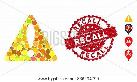 Mosaic Warning Icon And Grunge Stamp Watermark With Recall Caption. Mosaic Vector Is Formed With War