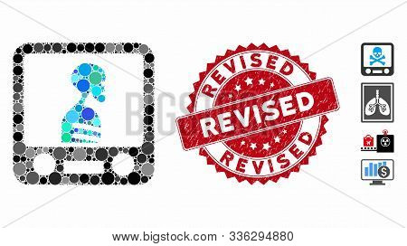 Collage Xray Screening Icon And Rubber Stamp Seal With Revised Phrase. Mosaic Vector Is Created From
