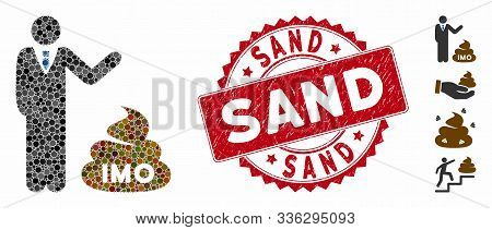 Mosaic Businessman Show Imo Shit Icon And Grunge Stamp Seal With Sand Caption. Mosaic Vector Is Form
