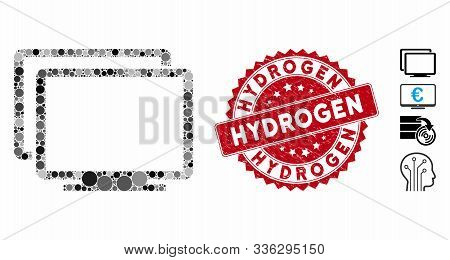 Mosaic Computers Icon And Rubber Stamp Seal With Hydrogen Text. Mosaic Vector Is Created With Comput