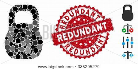 Mosaic Weight Iron Icon And Grunge Stamp Watermark With Redundant Phrase. Mosaic Vector Is Created W