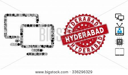 Mosaic Computer Workgroup Icon And Rubber Stamp Seal With Hyderabad Caption. Mosaic Vector Is Compos