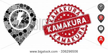 Mosaic Electric Marker Icon And Corroded Stamp Seal With Kamakura Caption. Mosaic Vector Is Designed