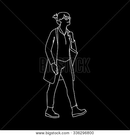 Adult Woman In Grasses And Cardigan Takes A Walk. Concept. Vector Illustration Of Walking Woman With