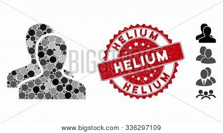 Mosaic Clients Icon And Rubber Stamp Seal With Helium Phrase. Mosaic Vector Is Composed With Clients