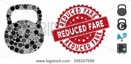 Mosaic Weight Iron Icon And Rubber Stamp Seal With Reduced Fare Text. Mosaic Vector Is Created From