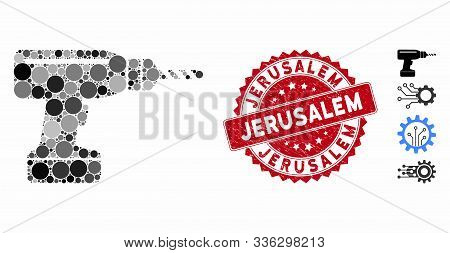 Mosaic Drill Icon And Corroded Stamp Watermark With Jerusalem Text. Mosaic Vector Is Composed With D