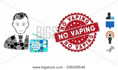 Mosaic Radio Dictor Icon And Rubber Stamp Seal With No Vaping Phrase. Mosaic Vector Is Composed With