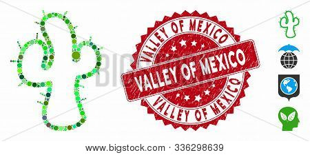 Mosaic Cacti Icon And Grunge Stamp Seal With Valley Of Mexico Text. Mosaic Vector Is Created With Ca
