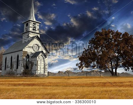 Abandoned Church On The Background Of A Mystical Landscape With Dark Clouds.