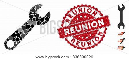 Mosaic Wrench Icon And Grunge Stamp Watermark With Reunion Caption. Mosaic Vector Is Composed From W