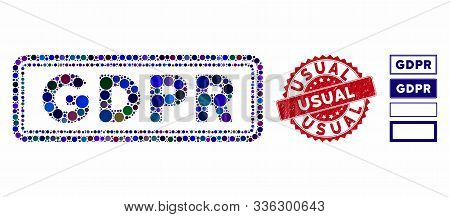 Mosaic Gdpr Rectangle Icon And Rubber Stamp Seal With Usual Text. Mosaic Vector Is Designed With Gdp