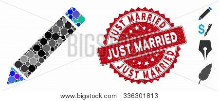 Mosaic Edit Icon And Grunge Stamp Seal With Just Married Phrase. Mosaic Vector Is Created From Edit
